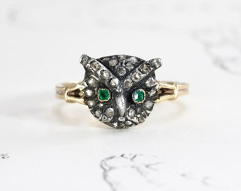 Victorian Diamond Owl Ring, 14k Gold Antique Silver Rose Cut Diamond & Emerald Statement Ring Bohemian Artist Teacher Symbolism Jewelry Gift