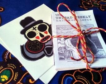 Zine Bundle, The Undead Weekly zine, four issues plus two Sugar Skull, Stickers, Haunted Art Zine bundle