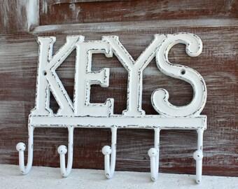 White Key Hook, Wall Key Holder, Rustic Shabby White Distressed KEYS Hanger, Keys Rack, Cast Iron Decorative White Wall Decor Key Organizer