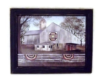 American Star Quilt Block Barn, Billy Jacobs Print, Barn Picture, Art Print, Wall Hanging, Handmade, 19X15, Custom Wood Frame, Made in USA