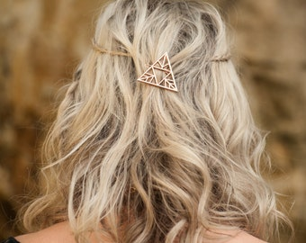 Triangle Hair Clip, Rose Gold Hair Clip, Boho Accessory, Boho Hair Accessory, Triangle Hair Pin, Boho Barrette, Bohemian Hair Clip,
