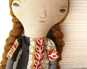 Paulina Big doll. Linen and cotton in long mustard merino wool hair. 19 inches