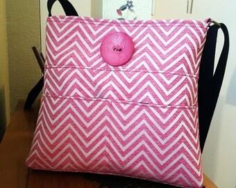 Pink Chevron Small Cross Body Bag