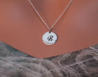 Sterling Silver Cursive Circular R Initial Charm Necklace, Cursive R Initial Necklace, Large R Letter Necklace, R Necklace, R Charm Necklace