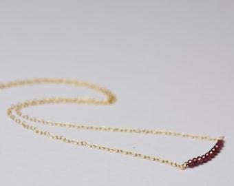 Garnet necklace, dainty gold necklace