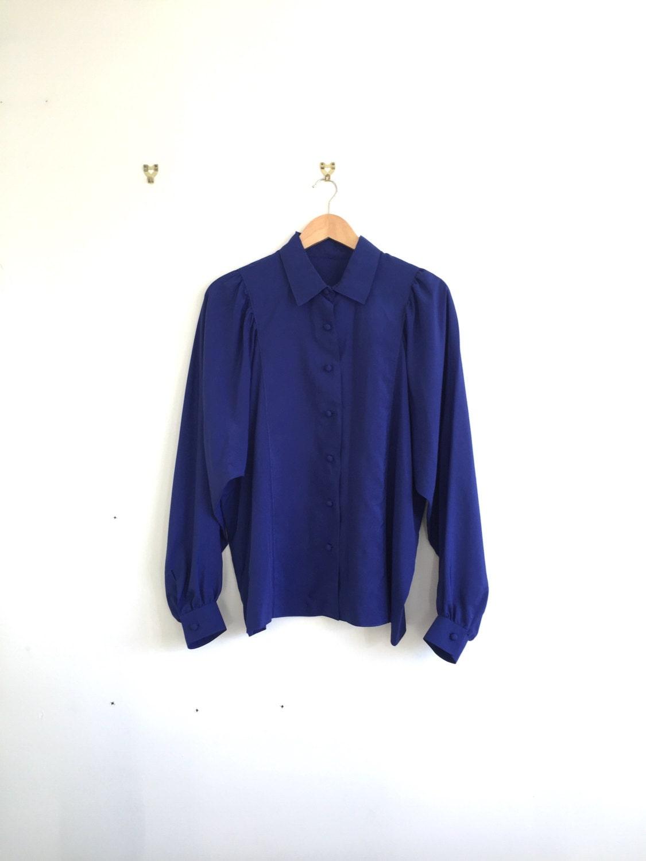 Vintage dark blue silk button down long sleeved shirt vintage for Silk button down shirt