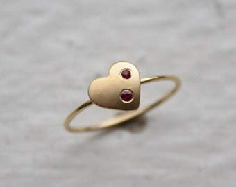 Ruby Heart Ring Pinky Midi Ring in 14k Yellow Gold - JL504