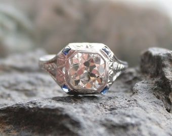 Art Deco Engagement Ring with 2.10 ct Old European Cut Diamond - DK95