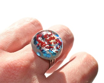 Mini Resin Dome Ring Red White Blue Grey Sparkly Cute Ring Fun Vibrantly Colored Summertime Jewellery
