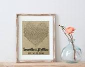 Wedding Gift Song Lyrics Art, Wedding Anniversary Gifts, Unique Wedding Vows Art, First Dance Song Lyrics Print, Custom Heart, Love Artwork