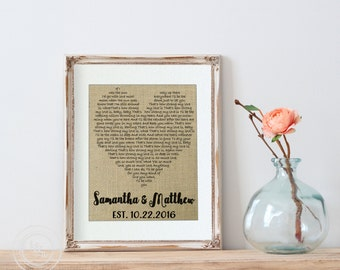 Wedding Gift Song Lyrics Art, Wedding Anniversary Gifts, Unique Wedding Vows Art, First Dance Song Lyrics Print, Custom Heart, Gift for Her