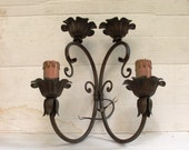 1 sconce vintage electric in wrought iron, appliques for two bulbs and two candles, sconce from wall mounted, rustic by castle made in Italy