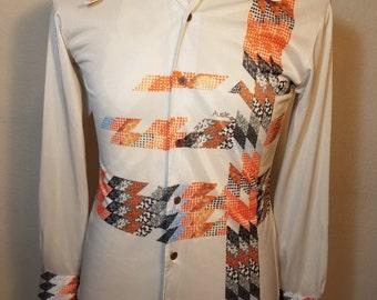 FREE  SHIPPING  1970 Designer Abstract Nylon Shirt