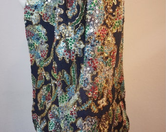 FREE  SHIPPING   1980 Silk Sequin Bead Jacket