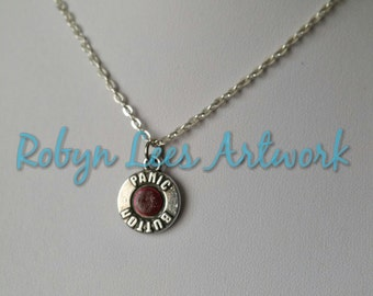 Small Dark Red & Silver Double Sided Panic Button Charm Necklace on Silver Crossed Chain