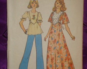 1970s 70s Vintage Hippie BoHo Top or Maxi Dress with Bib 2 Sleeve Vws COMPLETE Simplicity Pattern 6931 Bust 31.5 32.5 Inch 80 83 Metric