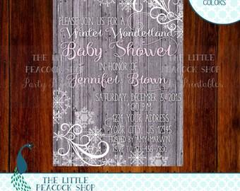 Baby Shower Winter Wonderland Snow Invitation   Digital and Printable U Print invite   Snowflake Whimsical
