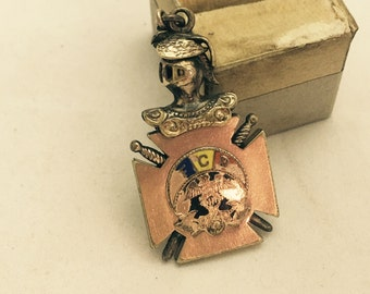 Antique Knights of Pythias Gold Filled Watch Fob or Pendant