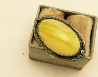 Antique English Bronze and Yellow Glass Oval Brooch