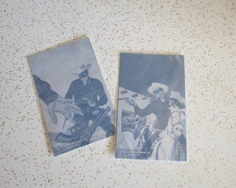 Pair of Vintage Lone Ranger Black and White Arcade Exhibit Cards