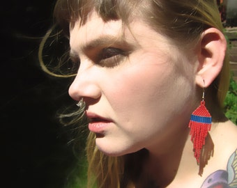 Blue and Red, Modern Native American Beaded Earrings