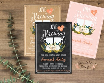 Love is Brewing Bridal Shower Invitation | Printable PDF or Printed | Coffee Themed Wedding Shower | Kraft | Chalkboard | Envelopes Included