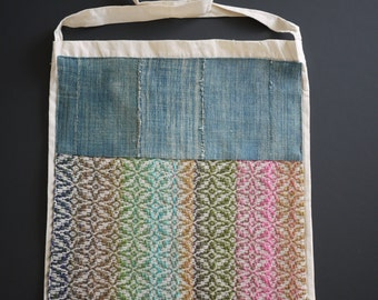 tote bag with an indigo and a handwoven fabric