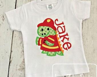 Fire Fighter Dinosaur Appliqué Embroidery Design - Dinosaur applique design - dino appliqué design - fireman appliqué design