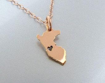Tiny 14K Rose Gold Filled Peru Necklace - Peru Charm - Custom Heart - Peru Map Necklace - Love Peru