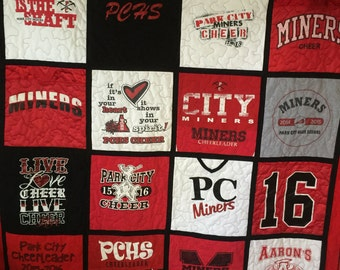 Graduation Quilts Custom Made - Memory Quilt Made From 9 - 49 t-shirts