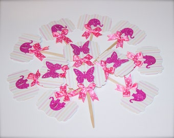 Elegant Elephant/Butterfly Cupcake Toppers