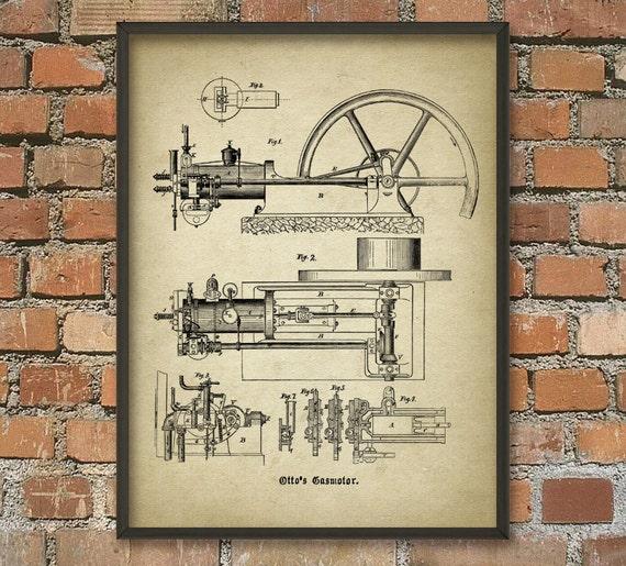otto hot air engine print vintage engine design engine. Black Bedroom Furniture Sets. Home Design Ideas