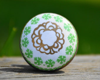 Ceramic knob/cabinet knob/antique/vintage/rustic/drawer pull/door handle/dresser/green/white/gold/celtic/Irish/decorative/unique/furniture