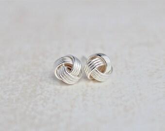 Knot Earrings.  Sterling Silver earrings.  Simple, everyday wear earrings.