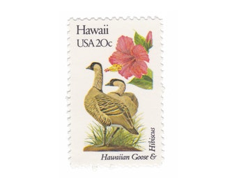 1982 Hawaii - Goose & Hibiscus - Vintage Postage Stamps - 10 Unused 20c US Stamps - Item No. 1963