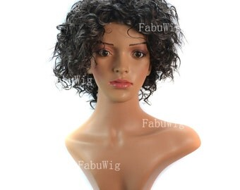"""11"""" Short Fluffy Curly Wig Black Gray African Cosplay Hairpiece For Women WW2-06"""