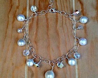 stering silver bracelet.925 with pearls and swarovski crystals-sterling silver pearl  bracelet-sterling silver swarovski bracelet-charm