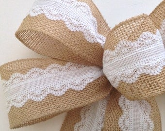Burlap Wedding Bows / Wedding Decorative Bows / Burlap and White Lace Bows / Set of 3 / Handmade and Design in wired ribbon