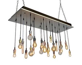Galvanized Steel Industrial Chandelier - 22 Bare Bulb Pendants