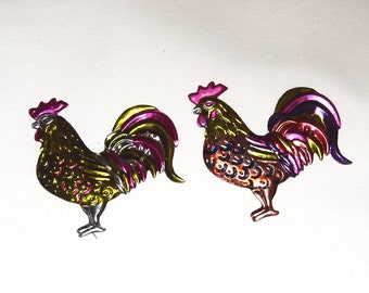Set of Two Mexican Tin Magnets- Roosters - Colorful Folk Art #2