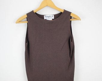 80's Simple Brown Tank Top / Blouse
