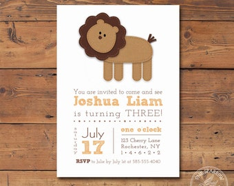 Lion Printable Birthday Invitation, Burlap/textured