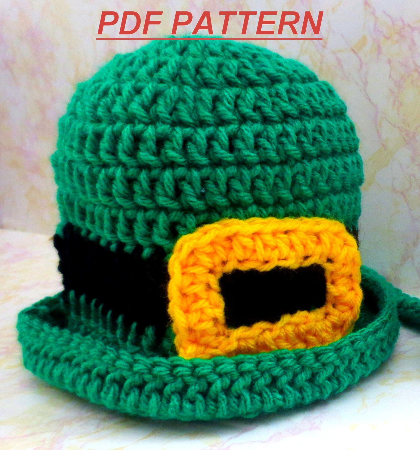 Crochet Pattern Leprechaun Hat : Crochet Pattern Leprechaun Hat St Patricks Day Hat Crochet