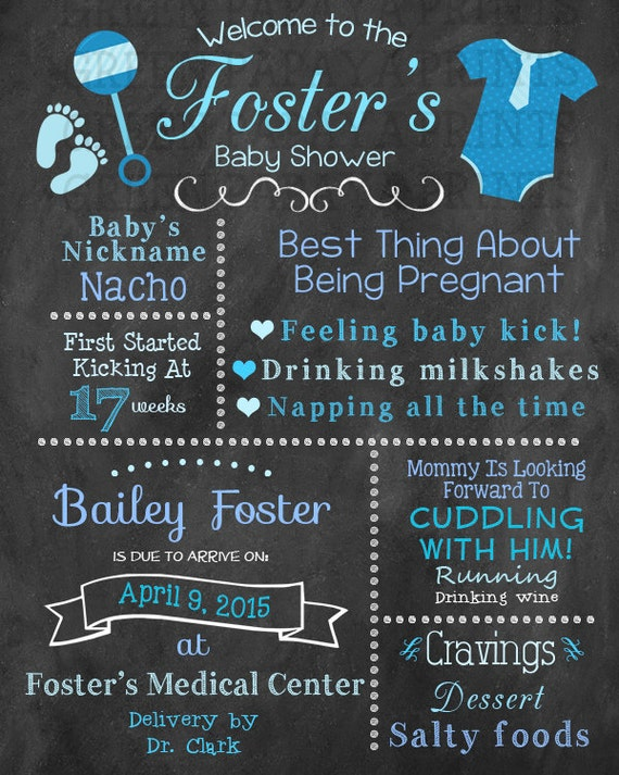 Blue Boy Baby Shower Poster & Welcome Sign by ...