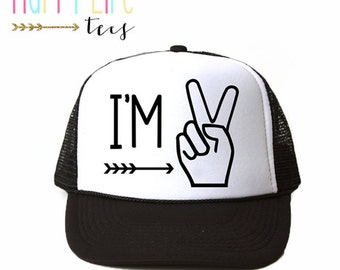 Boy Trucker Hat - Kids Trucker Hat - Birthday Hat - Kids Hat - I'm Two - Baby Trucker Hat - I'm Two Lets Party Hat - Kids Birthday Gift