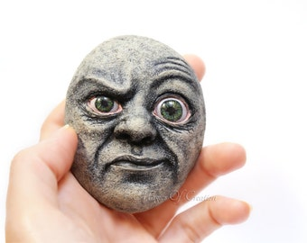Bizarre original sculpture on stone! One of a kind home decor great for people with unusual and unique taste! OOAK creative stone art!