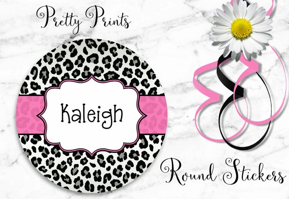 Cheetah Print Stickers - Personalized Stickers - Cheetah - Leopard Print - Black - Pink - Round Labels - Custom Labels - School Labels
