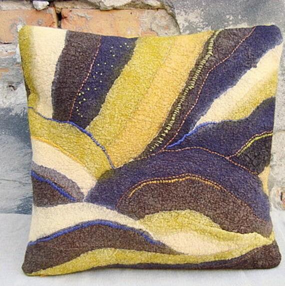 purple mustard yellow throw pillow textile fiber art pillow. Black Bedroom Furniture Sets. Home Design Ideas