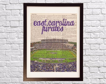 East Carolina Pirates Art Print - Dowdy–Ficklen Stadium - Print on Vintage Dictionary Paper - ECU Pirates, Football, Graduation Gift
