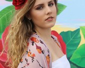 Red Rose Flower Crown Headband (Mexican Gypsy Boho Wedding Bride Bridal Festival Sorority Cheap Photo Shoot Bridesmaids Frida Kahlo Inspired